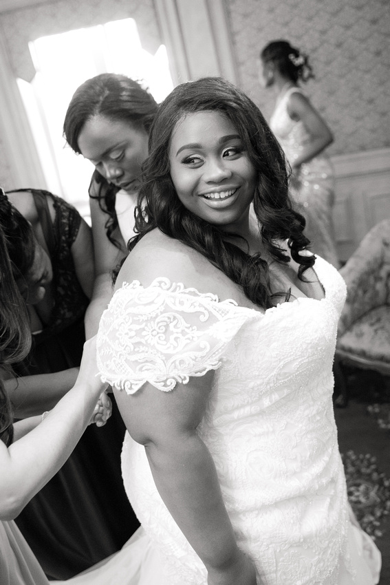 Black and white Bride in dress