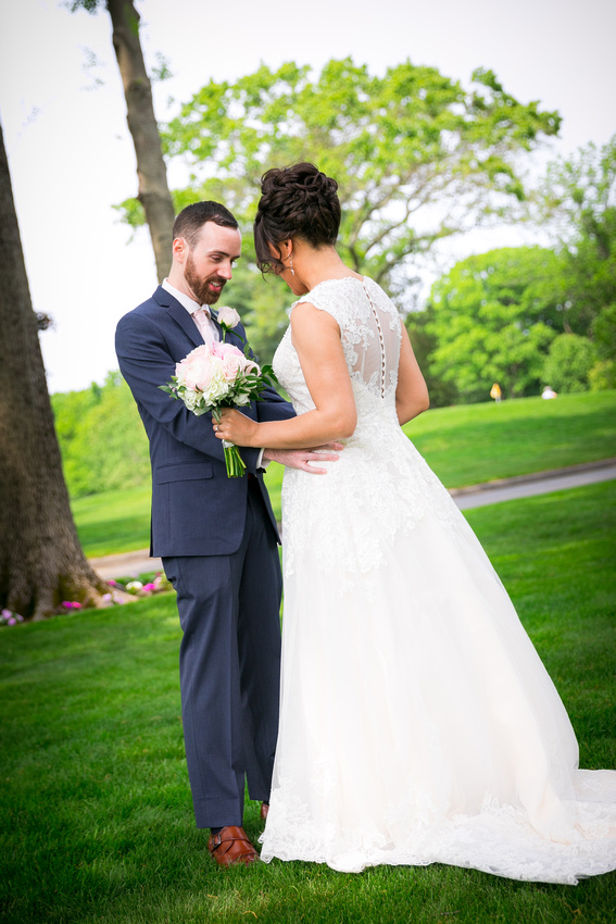 Groom sees bride for first time in her dress