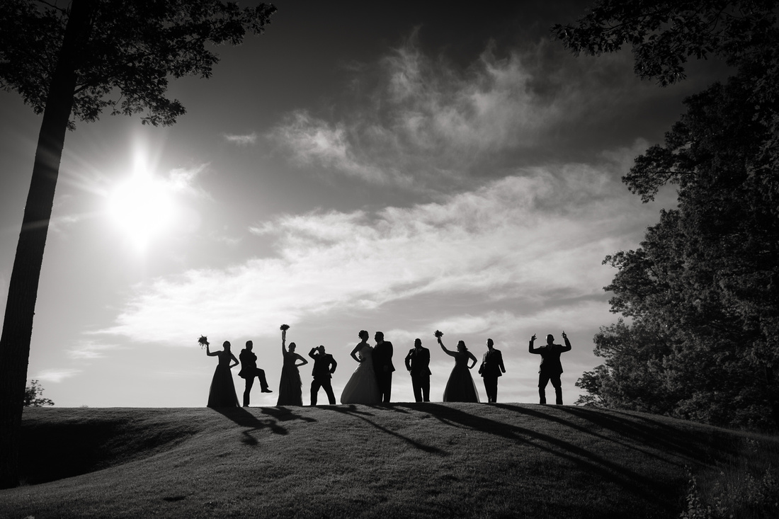 bridal party silhouetted on hill