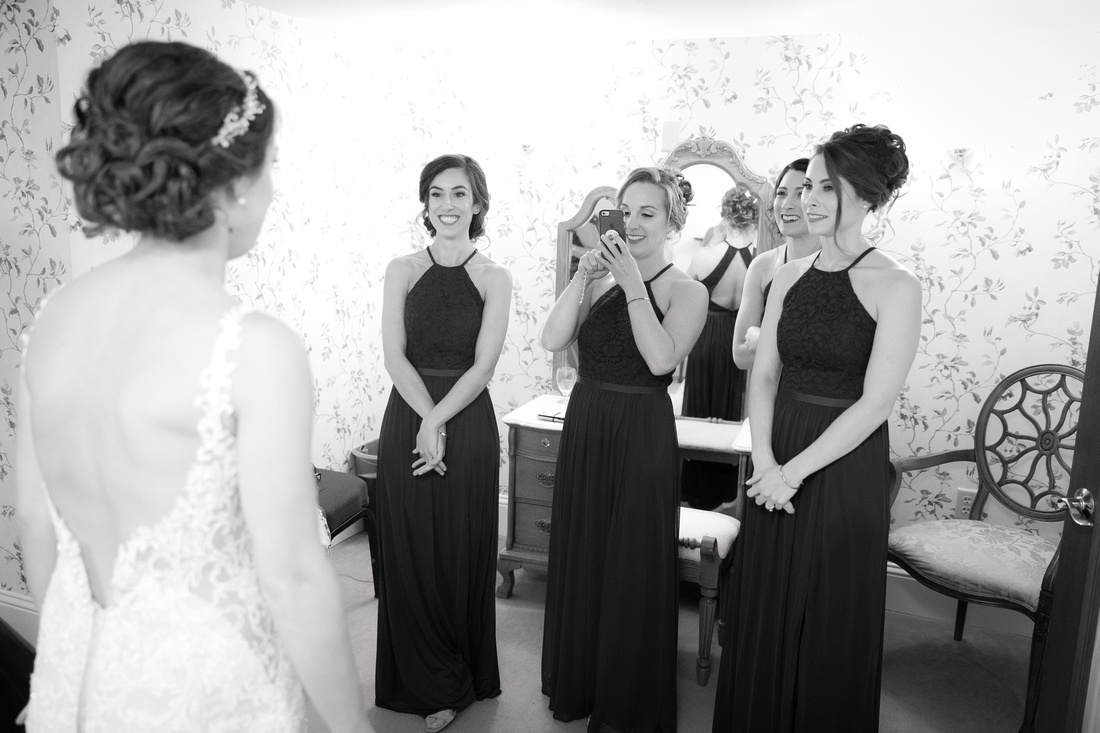 bridesmaids excited for bride