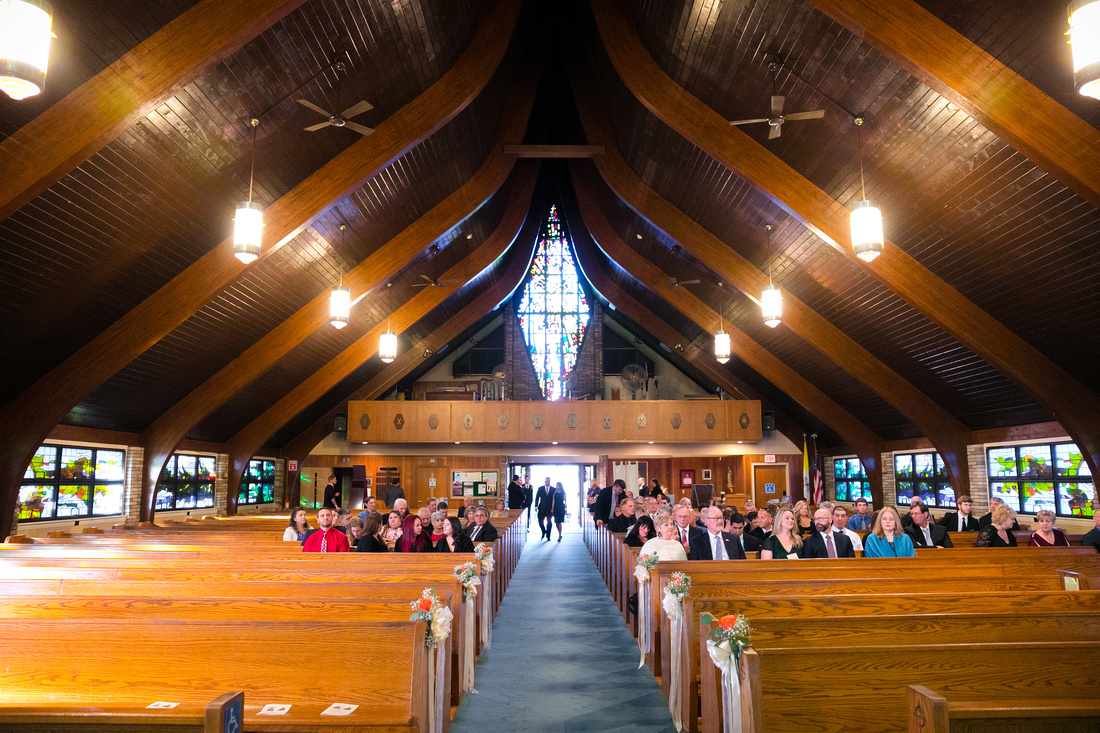 Wide shot of church interior