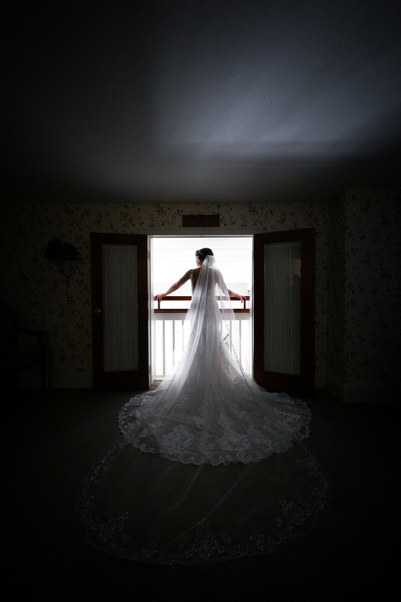 Bride in dark looks out