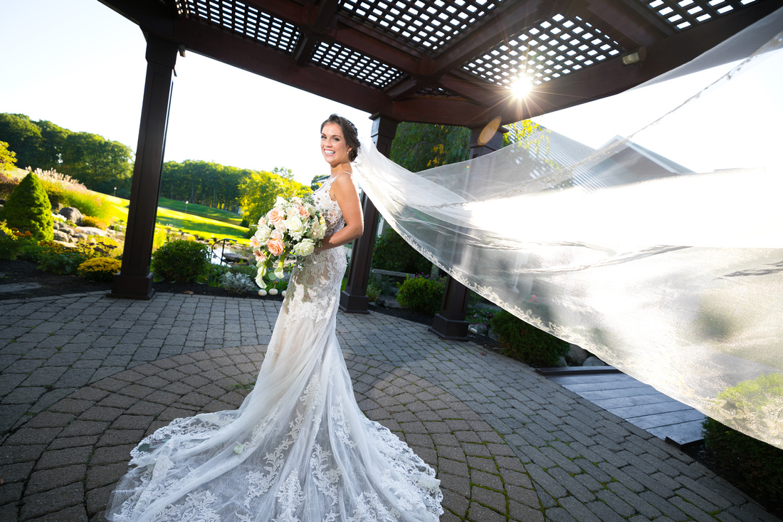 Bridal portrait with long veil