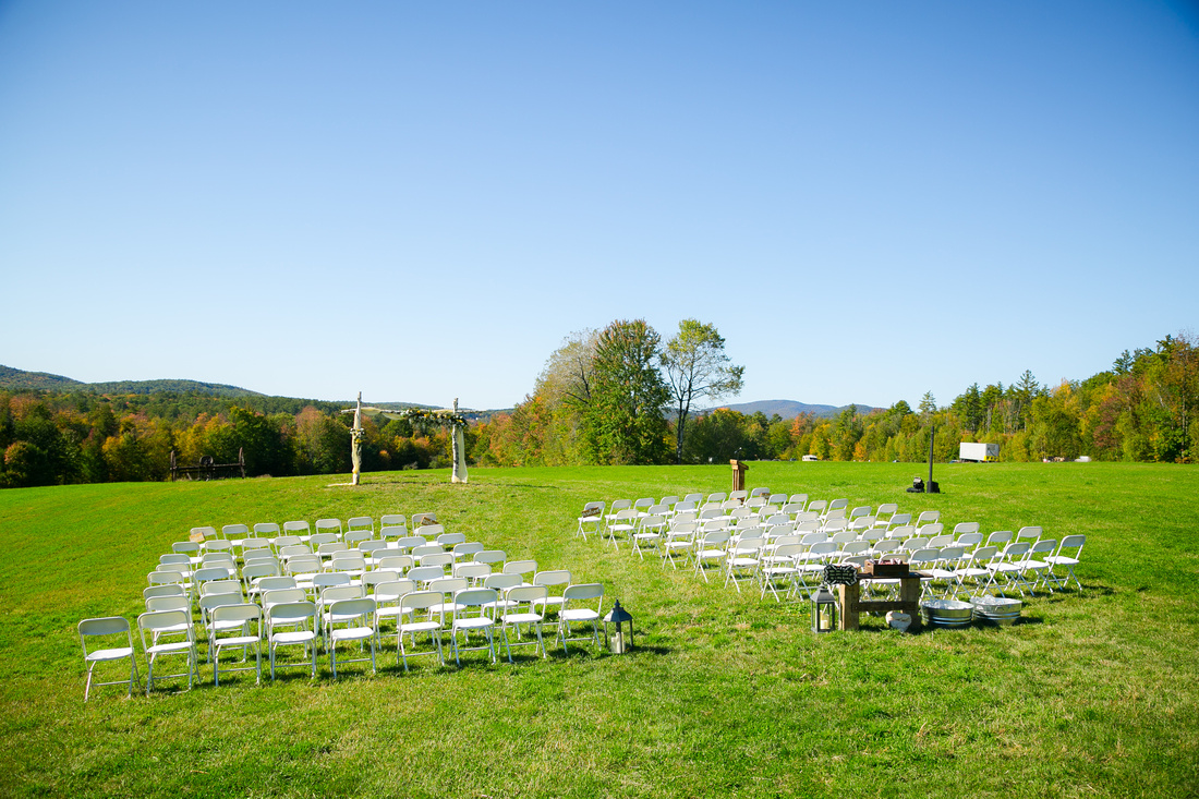 Empty ceremony site in field