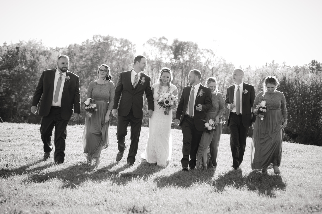 Bridal Party walks with each other