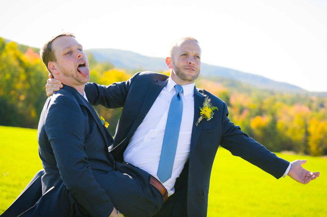 Groom and best man goof off
