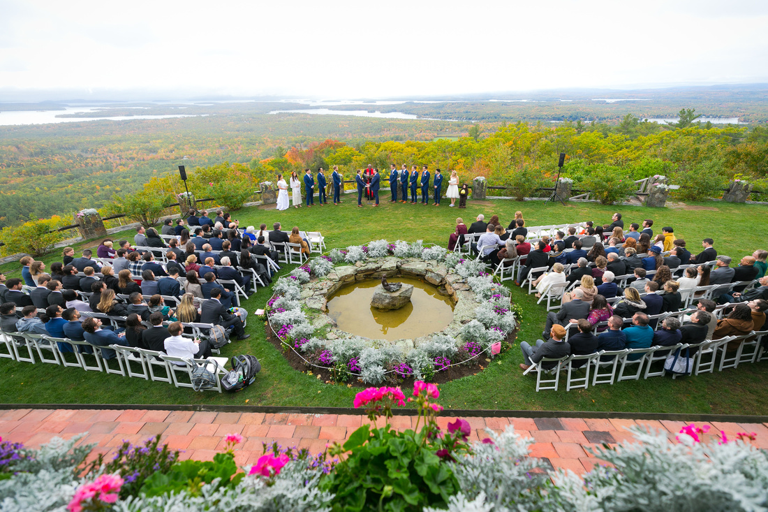 Wide ceremony with view