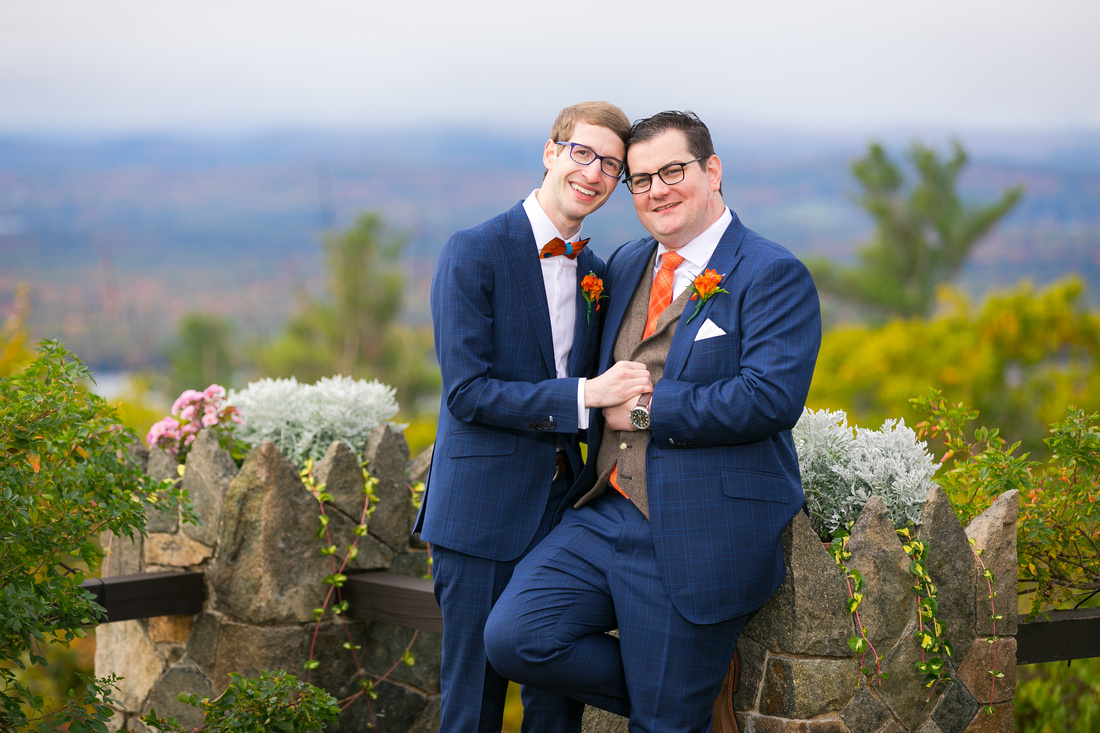 two grooms at Castle in the Clouds