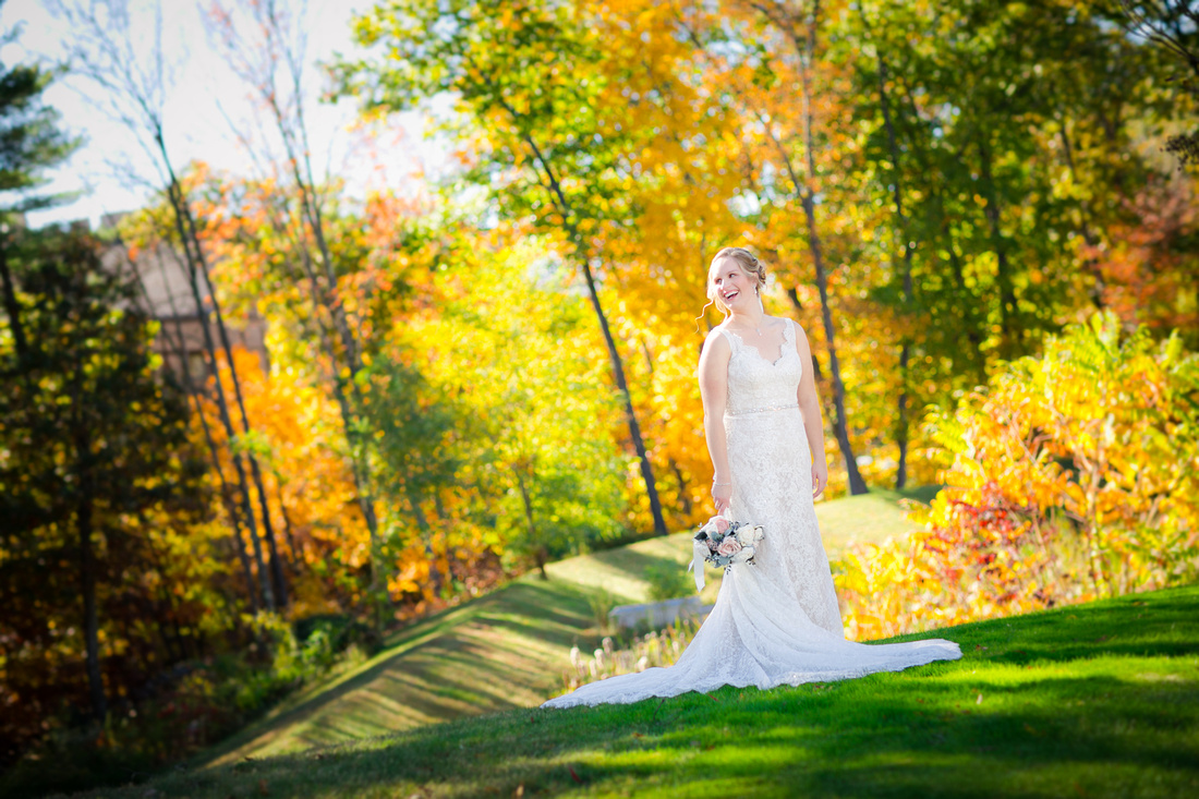 Bride with fall foliage