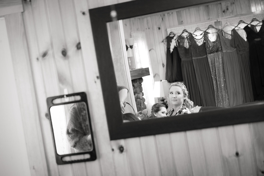 Bride reflected in mirror