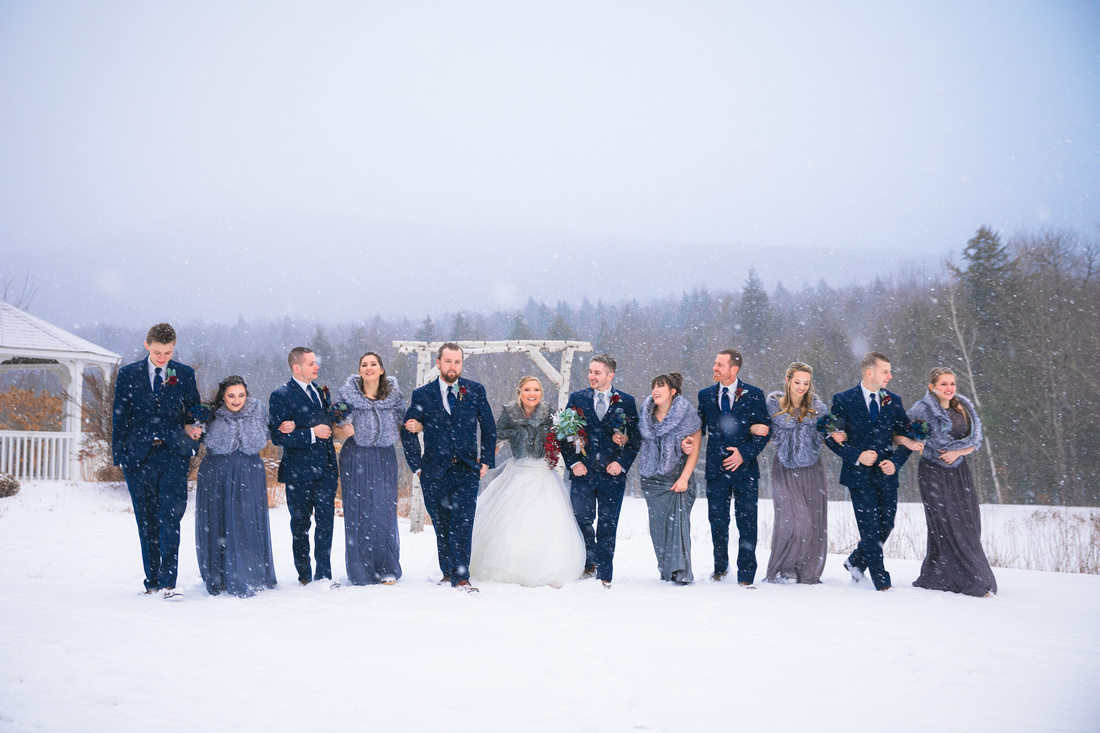 Bridal Party walk in the snow
