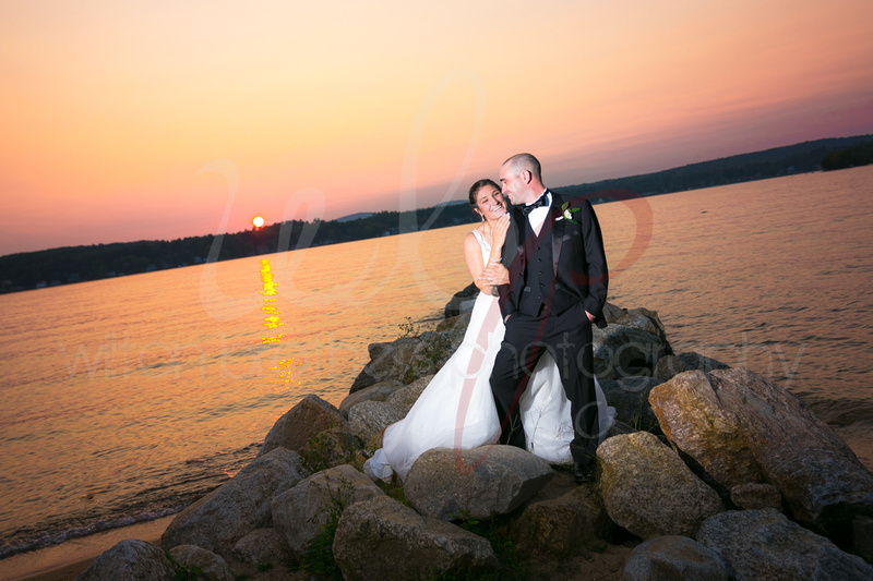 Married couple at sunset on the lake