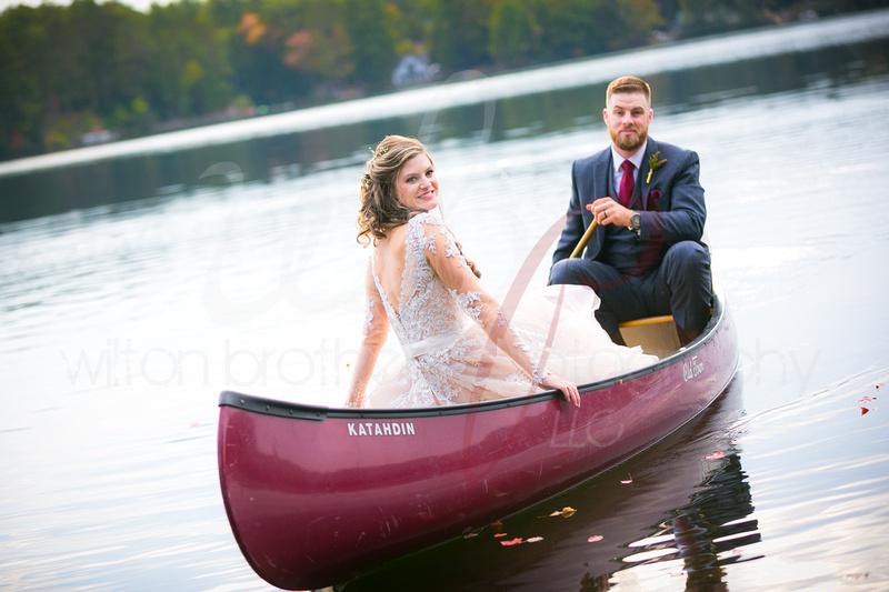 Wedding couple on a canoe